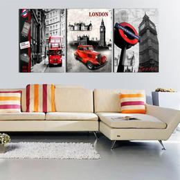 Wholesale Square Melamine - Modern 3pcs London City Wall Art Melamine Sponge Board Frame Canvas Oil Painting Flowers Candle Picture Room Decor Art Paint
