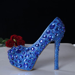 Wholesale Handmade High Heel Shoes - Bright Blue Diamond Crystal Glass Wedding Shoes Handmade Luxury Bridal Heels Lady Beads Pearls Evening Party Pageant Party Platform Pumps