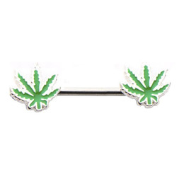 Wholesale Body 16g - 16G Punk Rock Sexy Green Leaves Nipple Rings Novelty Women Body Jewelry Love Maple Leaf Nipple Piercings