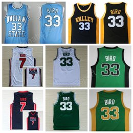 Wholesale Dream School - High Top 33 Larry Bird Jersey Indiana State Sycamores College 7 Larry Bird 1992 USA Dream Team Basketball Jerseys High School Throwback