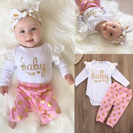 Wholesale Cute Infant Winter Clothes - 2PCS Baby Girls Suits Lace Long Sleeve Tops Bodysuit Golden Dot Pants Clothes Sets Baby Love Lovely Printed Infant Toddler Infant Clothing