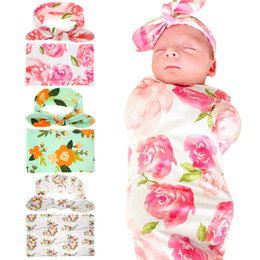 Wholesale Wholesale Unisex Headbands - Newborn Baby Swaddling Blankets with Bunny Ear Headbands Baby Floral Swaddle Wrap Blanket Hairbands Baby Cotton wrap cloth Set BHB11