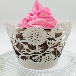 Wholesale Cupcakes Party Favors - wedding favors wedding cake filigree Laser cut Lace Cup Cake Wrapper Cupcake Wrappers For Wedding Birthday Party Decoration 12pc per lot
