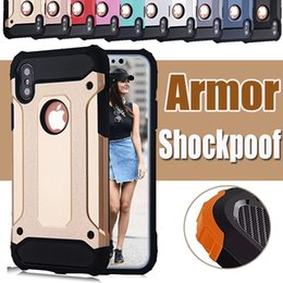Wholesale iphone steel cases - Steel Armor Dual Layer Shockproof Defender Robot PC+Silicone Hard Cover Case For iPhone X 8 7 Plus 6 6S Samsung S8 Plus S7 edge Note 8