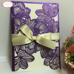 cumprimentos do dia de mães Desconto Atacado New 50pcs Laser Cut Flower Vine convites do casamento Decoração de papel do convite Cartão Cartões da festa de casamento Fontes do casamento