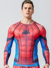 Wholesale Lycra Costume Men - 3D Printed T-shirts Raglan Long Sleeve Compression Shirts Men 2016 Clothing Tops Male Cosplay Costumes For Men 2017 Spring