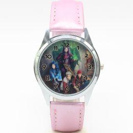 Wholesale Girls Wrist Bands - Descendants Wrist Quartz Fashion Child Girl black Leather Band Watch Xmas