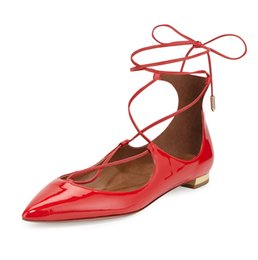 Wholesale Square Dancing Shoes - Zandina Womens Ladies Handmade Fashion Cross Lace Up Pointed Toe Flats Shoes Bullets Party Dance Evening Shoes Red