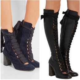 Wholesale White Strappy High Heels - Suede Calfskin Ankle Boots For Women Leather Motorcycle Boots Luxury Designer Autumn Winter High Heel Shoes Strappy Gladiator Sandals