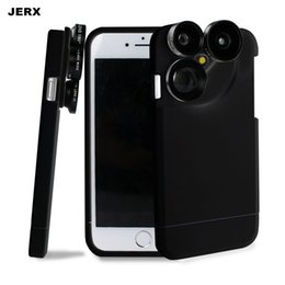 Wholesale Iphone Case Kits - 2017 2 in 1 Phone Case Lens For Iphone 6 6S 7 Plus 4 in 1 Glass Fisheye Wide Angle Macro 2X Zoom Telephoto Phone lens Kit Back Cover