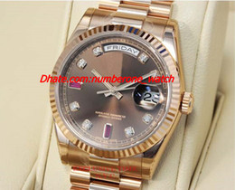 Wholesale Diamond Bracelet Gold - 2017 New Stainless Steel Bracelet 41mm Chocolate Diamond & Ruby Dial Everose Gold 118235 CHODRP Automatic Mechanical MAN WATCH Wristwatch