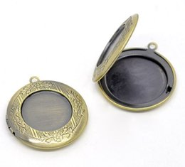 Wholesale Christmas Photo Picture Frame - DoreenBeads Antique Bronze Picture Photo Locket Frame Pendants 32mm,sold per pack of 10