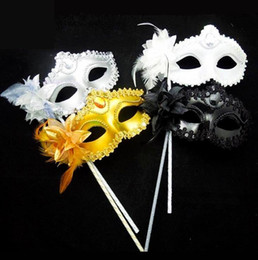 Wholesale Fancy Children - Venetian masquerade Dance Ball Mask Wedding Party Fancy Dress eyemask On Stick Masks Lily Flower Lace Feather Held Stick Mask