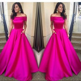 Wholesale Long Sleeves Beaded Night Gown - Fuchsia Pink Prom Dress Off Shoulder Long Satin Short Sleeves A Line Night Gown New Arrival Custom Made Party Evening Dresses