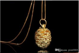 Wholesale Platinum Heart Shaped Necklace - high quality pendant sterling silver cherry necklace 24k gold plating pine cone shape