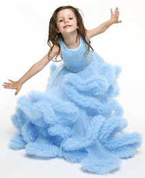 Wholesale long tulle flowergirl dresses - New 2018 pageant dresses for girls jewel sleeveless beaded sash lace up back party gowns long ruffles tulle princess flowergirl dress