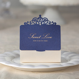 Wholesale Paper Crowns Christmas - Laser Cut Wedding Candy Favors Boxes Blue Hollowed Crown with Ivory Box and Champagne Words Novelty Unique