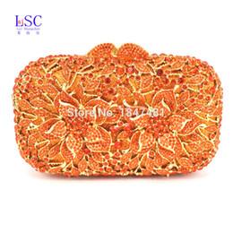 Wholesale Women Handbag Studded - Wholesale-LaiSC newest Orange Crystal Clutch Bag Flower Evening Bag Diamond Studded Handbags Women Bridal Party Purse SC437