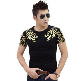 Wholesale Man Cool Tshirt - Fashion T Shirts for men Golden Dragon Head print t-shirt casual t shirt short sleeve crew neck tops tees cool tshirt TX141 RF