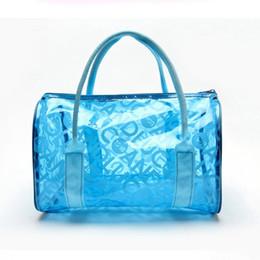 Wholesale Transparent Jelly Bags - Wholesale- Transparent Beach Bag 2016 New Fashion Women Clear Beach Handbag Letter Printed Tote Candy Jelly Bag Of Beach Bolsos de Playa