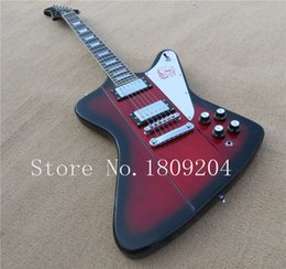 Wholesale Bird Guitars - Custom Shop VOSFire bird Thunderbird Red Black Edge Top Electric Guitar Ebony Fingerboard Trapezoid MOP Inlay Chrome hardware