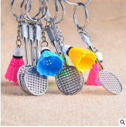 Wholesale Tennis Keychains Wholesale - Mini Tennis Badminton ping-pong bowling sports keychains cute metal keychains Individuality present three styles can choose
