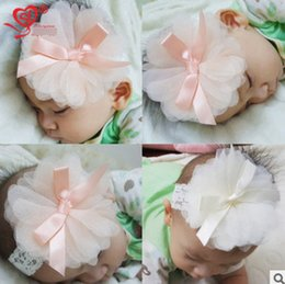 Wholesale Pink Lace Newborn Headbands - Newborn kids lace headbands baby girls gauze big stereo flowers hairbands Infant Bow ribbon princess hair Bows photography props R0711
