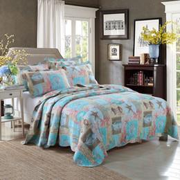 New 100 Cotton European Style Blue Quilts Four Seasons Ocean Printing Home Textiles Bedding Set