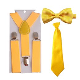 Wholesale bowtie suspenders - Wholesale- Hot Baby&kids Children Toddler Yellow Bowtie Ties Suspenders Set Classic Colorful Formal Party HHtr0007a08