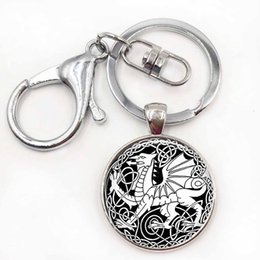 Wholesale Dragon Paint - Celtic Dragon Keychain Cabochon Glass Keyring Oil Painting Gift Dragon Jewellery Dragon Key Chain Ring