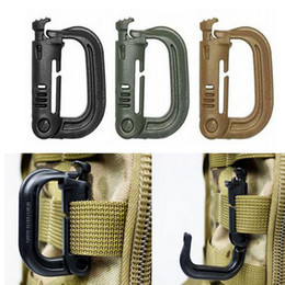 Wholesale Clip Fastener Types - Molle Carabiner D Locking Ring Plastic Clip Snap type ring buckle carabiner Keychain ITW fastener EDC outdoor camping tool