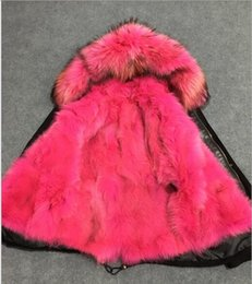 Wholesale Women S Long Snow Coat - 2017 MR & MRS Itlay rose fox fur lined canvas long parka MMF fur coats snow winter coats for cold weather