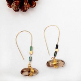 Wholesale Copper Hook Pendant - Women Vintage Natural Stone Pendant Drop Earrings Retro Copper Wire Hook Dangle Earring for Women Jewelry