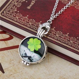 Wholesale Colorful Alloy Bird - DIY Cute Animal Colorful Big Eyes Bird Happy Girl Smiling Face Four Leaf Clover With Perfume Film Necklaces & Pendants Essential Oil Jewelry