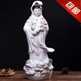 Wholesale Buddha Feng - Ceramic Buddha Guanyin ornaments free Avalokiteshvara feng shui master of fine arts and crafts large 20 inch