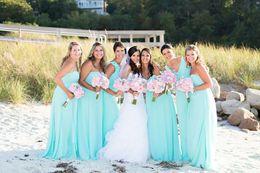 Wholesale Flow Party - 2017 Simple Aqua Long Bridesmaid Dresses for Beach Wedding Flow Chiffon Floor Length Boho Wedding Party Dress Custom Made