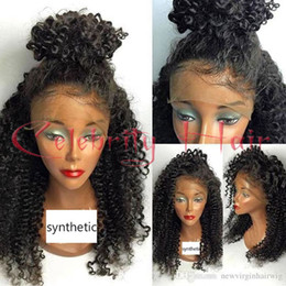 Wholesale Half Wig Afro - Celebrity Hairstyle Half Handmade Synthetic Lace Front Wig Afro Kinky Curly Full Black Synthetic Hair Wigs Baby Hair Black Women