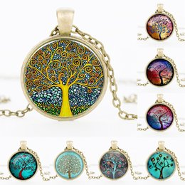 Wholesale Tree Life Family Gifts - 2017 NEW Tree of Life Necklace Pendant Jewelry art and the thought of the tree Silver Family Christmas Style Charm Jewellery Gift