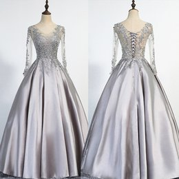 Wholesale Dress Long Elegant Photo Real - Elegant Plus Size Silver Evening Dresses Long 2017 Long Sleeves Scoop Lace Up Floor Length Appliques Beading Real Picture Prom Gowns