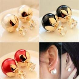 Wholesale Pearl Earings Wedding - Wedding Earings Lotus Flower DHL Red Black White Gray Pearl Earring Stud Crystal Flower Big Girls Ear Stud Brief Fashion Grace