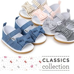 Wholesale Fabric Clogs - New fashion baby girl bowknot cotton sandals shoes shoe,rubber sole stripe and plaid jeans sandal foothold clogs Summer sandals for toddlers