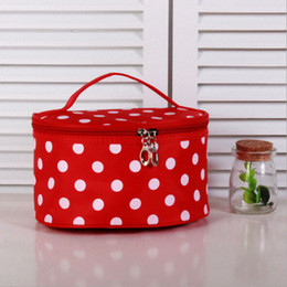 Wholesale Toiletry Bag Polka Dots - Polka Dots Large Cosmetic Bag Travel Makeup Organizer Case Holder Cute Large Toiletry Bag with Handle
