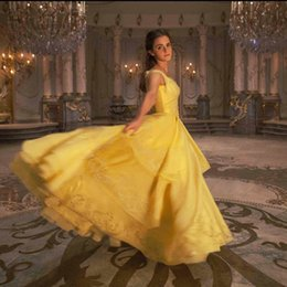 Wholesale Emma Brown - Top Quality 2017 Movie Emma Watson's Beauty And The Beast Belle Princess Yellow Cosplay Prom Dress For Adults Women Custom Made