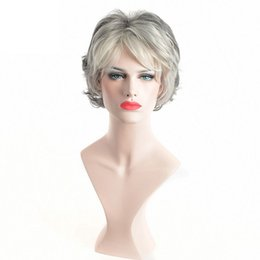Wholesale Wig White Short Curly - Short Curly Synthetic Wigs for Elder Women American African Afro Hair White Grey Wig Heat Resistant
