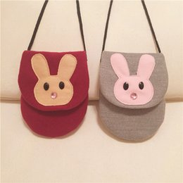 Wholesale Black Rabbit Purses - Kids bag girls cute rabbit rhinestone cross-body bags fashion new children cartoon animal one shoulder bag children purse girl gift T4862