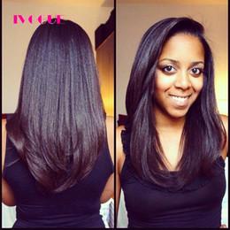 luz yaki u parte peluca Rebajas Luz italiana Yaki recta U parte pelucas de cabello humano Glueless virgen peruana sin procesar Remy cabello humano Upart pelucas izquierda en forma de U