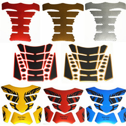 Wholesale 3d Motorcycle Tank - 1x Tank Pad Tankpad Protector Sticker For Motorcycle Universal Fishbone 3D Rubber sticker Motorcycle Tank sticker Free Shipping