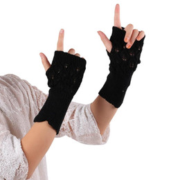 Wholesale Long Arm Gloves Ladies - Wholesale- Fashion Fingerless Gloves Women Winter Mittens Arm Warmer Knitted Long Gloves Ladies Casual Outdoor Fitness Glove #JOYL
