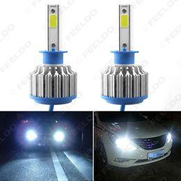 Wholesale Round Car Fog Lights - FEELDO Bright H1 6000K 48W 5200LM Car LED Headlights COB Chips Car Fog Light Bulbs Xenon Light with Fan #1426