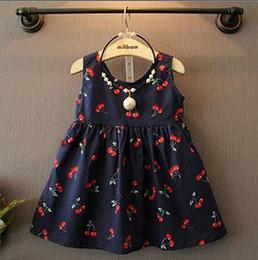 Wholesale G Wholesale Kids Clothing - 2-7y Girls Clothing Summer Children Kids Berry Dress Back V Dress Girls Cotton Kids Vest dress Children Clothes 2017 G